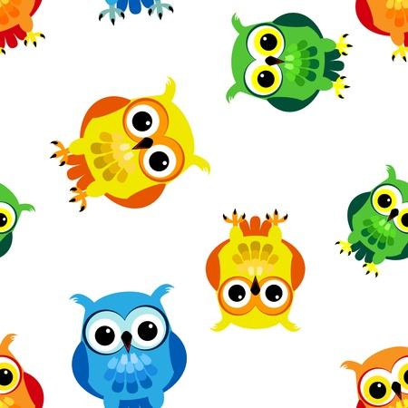 화려한 노란색, 파란색, 녹색, 오렌지 완벽한 아이 디자인 귀엽고 재미있는 만화 올빼미의 원활한 패턴입니다.
