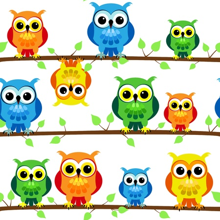Seamless pattern of cute and fun cartoon owls in colorful yellow, blue, green and orange perched on a tree branch with leaves, perfect kid design. Vector