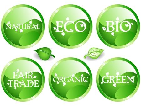 異なる鉱滓や持続可能な開発と緑の木陰 web 光沢のあるボタンの楽しいコレクション関連のメッセージ: バイオ、エコ、自然、緑、有機、公正な貿易