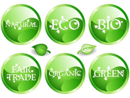 Fun collection of green shade web glossy buttons with different environemental or sustainable development related messages: bio, eco, natural, green, organic, fair trade. Vector