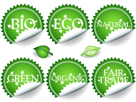 Fun collection of green shade stickers with different environemental or sustainable development related messages: bio, eco, natural, green, organic, fair trade. Vector