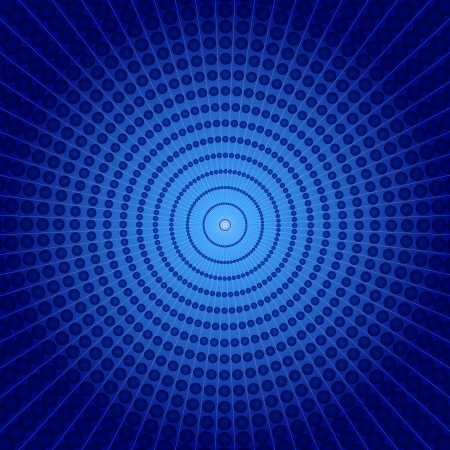 Blue vortex background made of spheres and gradients with diminishing perspective, fun abstract.