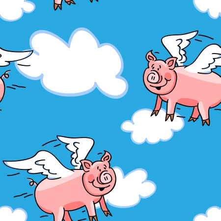 pig wings: Seamless cute and fun lying pig cartoon characters with wings to represent the saying, great kid wallpaper or fabric.