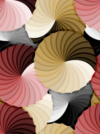 Beautiful seamless abstract pattern made by rosette in gradient desaturated red and yellow, brown, grey, with shadows to give depth, very graphic and dynamic wallpaper or fabric. Illustration