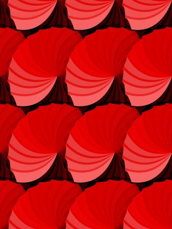 Beautiful seamless abstract pattern made by rosette in red shades gradient with shadows to give depth, very graphic and dynamic wallpaper or fabric.