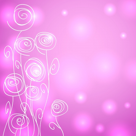 Beautiful abstract pink background with lights and fun swirly hand drawn flowers. Vector
