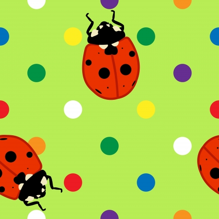 Seamless pattern of cute ladybugs over fun colorful polka dots and green background Ilustrace