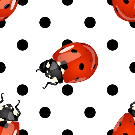Seamless fun and cute detailed glossy ladybugs and black polka dots pattern over white background Ilustrace