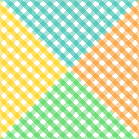 Seamless pattern made of four colorful diagonal gingham pattern in yellow,orange, blue and green, to be used together or separately. Vector