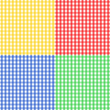 be green: Seamless pattern made of four colorful gingham pattern in yellow, red, blue and green, to be used together or separately.