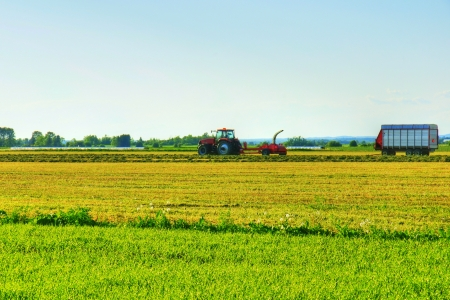 Beautiful HDR rendering of rural landscape with early farm work in the cereal field with tractor and other equipment. Stock Photo - 13985337