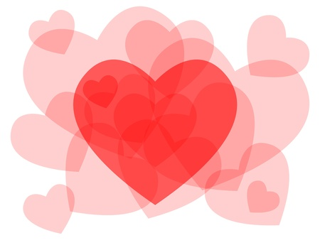 Cute Transparent Heart Symbols Overlayed Beautiful Love Or