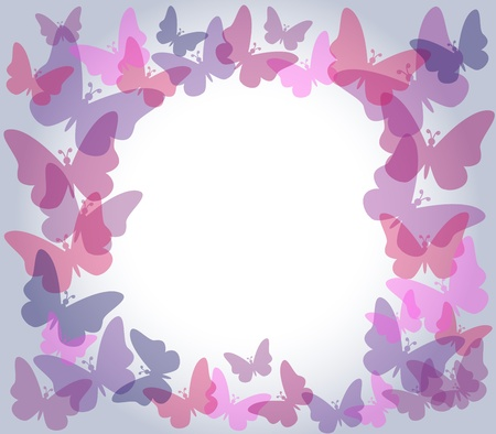 Beautiful nature frame with colorful transparent butterflies in shades of pink and purple over light gradient grey background, perfect for card or others. Vector