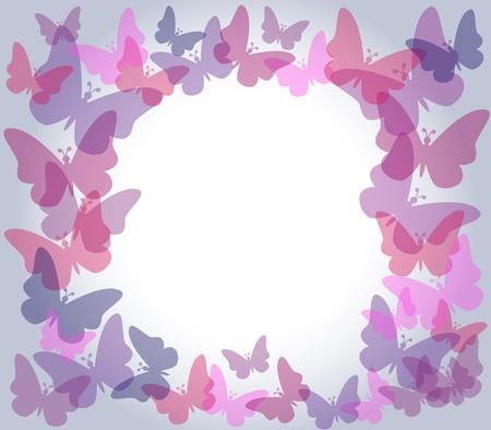Prachtige natuur frame met kleurrijke transparante vlinders in de kleuren roze en paars over lichte helling grijze achtergrond, perfect voor kaart of anderen.