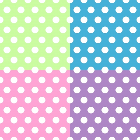 Seamless pattern of cute, fun and bold white polka dots patterns over pink, purple, green and blue squares background, can be used separately or together. Vector