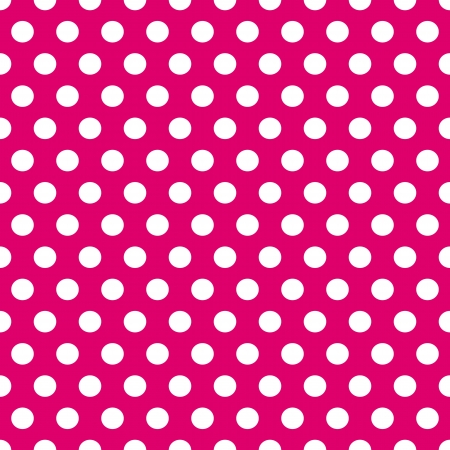 Seamless pattern of cute, fun and bold white polka dots paterns over pink background. Vector