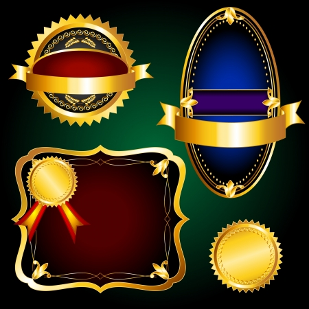 Beautiful set of elegant vintage labels, seals or stickers in rich metallic gold and dark colors. Stock Vector - 14128191