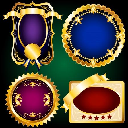 fita: Jogo bonito de etiquetas elegante e ornamentado do vintage, selos ou etiquetas de rico ouro met