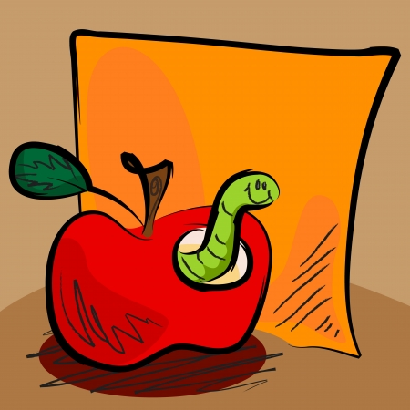 Fun grungy cartoon of friendly worm inside an apple in front of orange paper or sticky for your text, perfect for back to school or other concept.  Vector