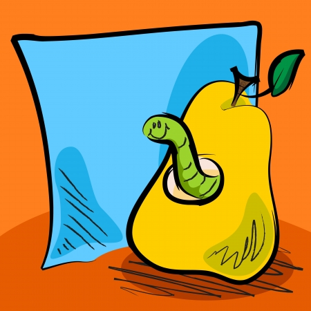 Fun grungy cartoon of friendly worm inside a pear in front of blue paper or sticky note for your text, perfect for back to school or other concept. Vector