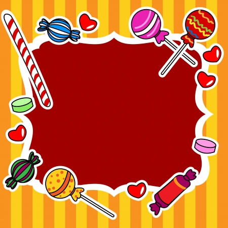 Cute and fun hand drawn candy or other sweets over stripped background, perfect for a kids birthday wish or invitation card,circus theme. Illustration