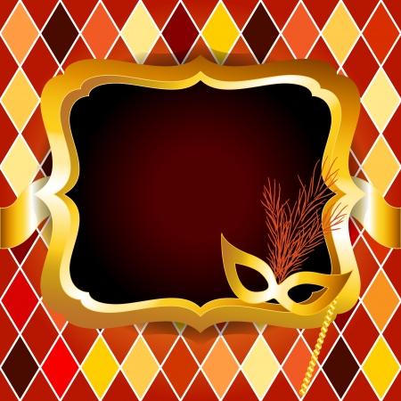 arlecchino: Venitan festa di carnevale o una palla con la carta di invito con la maschera d'oro telaio o cartellone durante il ciclo di Arlecchino, molto chic e di lusso