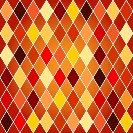 Seamless harlequin or argyle pattern made of colorful yellow, orange and red tone diamonds with white border over orange background.