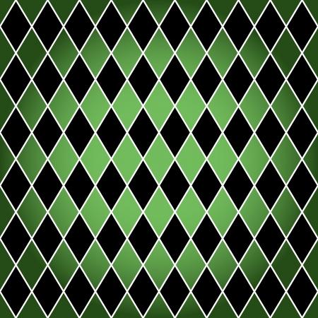 Nahtlose oder Harlekin Argyle-Muster von schwarzen Diamanten mit weißem Rand über grünem Hintergrund gemacht.