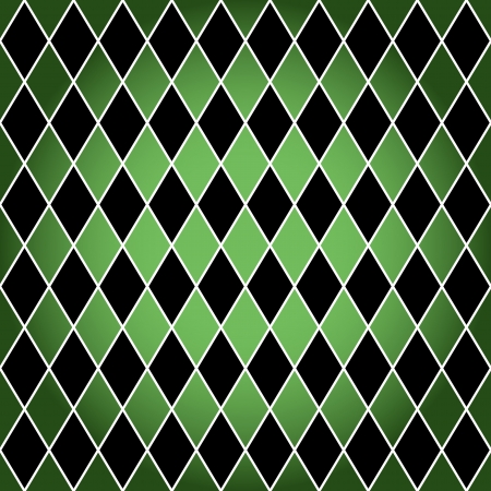 Seamless harlequin or argyle pattern made of black diamonds with white border over green background.