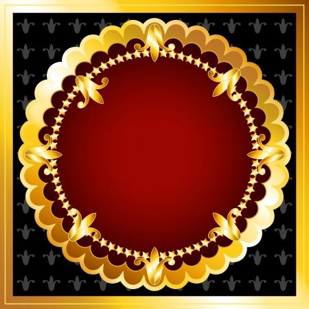 美しいビンテージ豊富な暗い赤いベルベット、テキストまたは広告のための完璧な豪華な背景を持つゴールド フレームを探します。