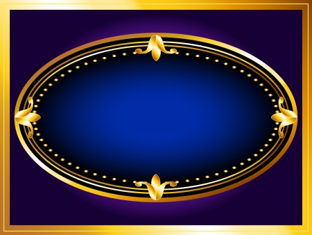 Beautiful vintage look gold frames with rich dark blue velvet, perfect luxurious background for your text or advertisement. Vector