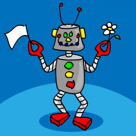 Cute, fun and friendly smiling peacefeul robot cartoon character holding a white flag and a daisy flower as symbol of peace
