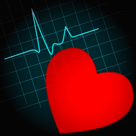 heart disease: Red heart symbol with heartbeat wave, perfect for fitness, cardiovascular healthcare or others