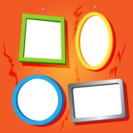 hung: Set of fun empty frames in bright colors for your text or images hung on cracked old house orange wall. Illustration
