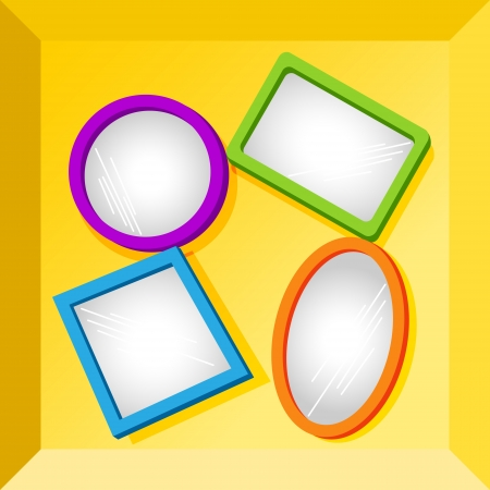 reflection mirror: Set of empty frames in fun bright colors for your text or images, could be mirrors, placed at the bottom of cardboard box. Illustration