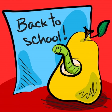 Fun grungy cartoon of friendly worm inside a pear in front of blue paper or sticky note with  Vector
