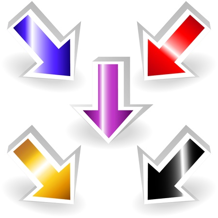 down arrow: Colorful metallic pointing arrows Illustration