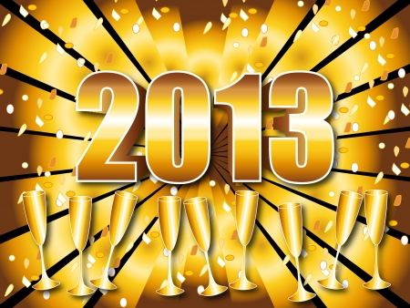 Fun and festive 2013 New Years Eve celebration background with gold sunburst