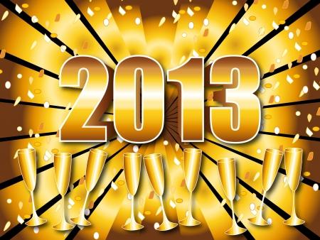 Fun and festive 2013 New Year's Eve celebration background with gold sunburst