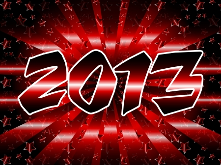 bold: 2013 new year bold celebration sign with metallic red sunburst over black gradient background covered with stars