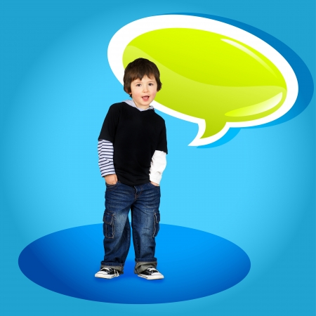 Cute little boy speaking with a green glossy speech bubble photo