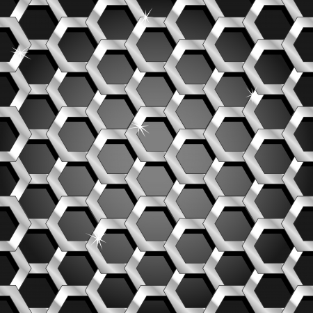 Interesting and dynamic seamless pattern made of thick silver honeycomb with depth over a black dark grey gradient.