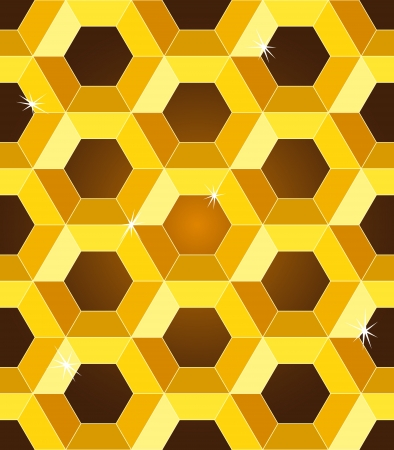 Seamless pattern of luxurious golden yellow honeycombs with sparkles over dark brown gradient background.