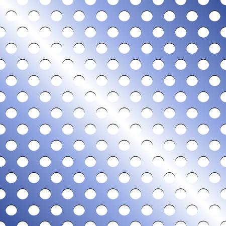 holes: Seamless pattern of light blue metallic grid with circular holes