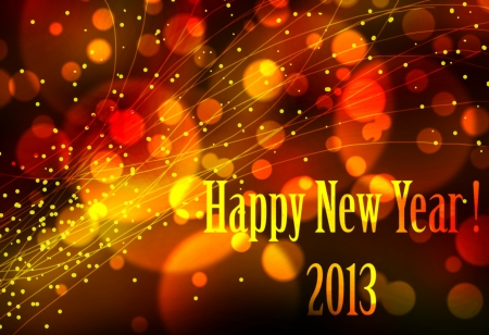 Happy new year 2013 card or background with bright lights effects or neon, very festive.