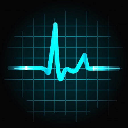 systole: Normal heartbeat sinus wave with light effects, perfect for fitness, cardiovascular healthcare or others.
