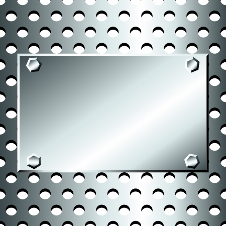 Seamless pattern of grey, stainless steel or silver metallic grid with circular holes, with bolted  metal plate for text
