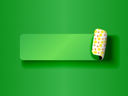 Cute peeling off label or sticker,green on green tones with fun yellow and orange polka dots backing and shadows, ready for your text. Stock Vector - 15557585