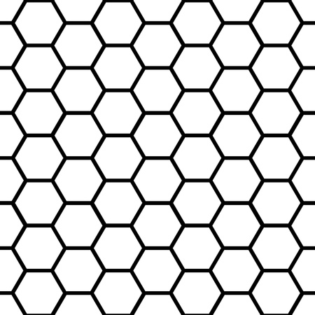 honeycomb: Graphic seamless pattern made of black honeycomb pattern over white.