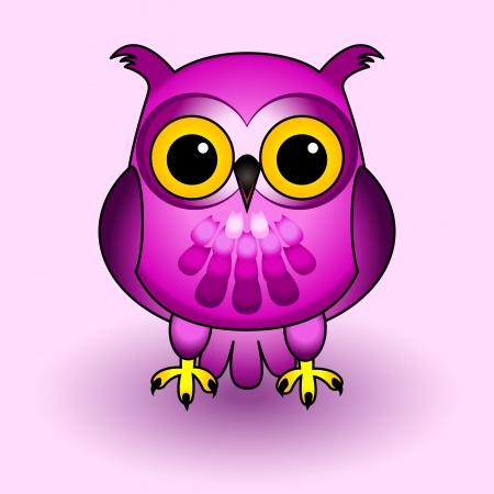 b�ho caricatura: Diversi�n y lindo personaje de dibujos animados b�ho, todo en tonos rosa y morado, sobre fondo suave con sombras.